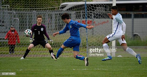Davide Angelo Ghislandi of Italy U15 competes with Ogbeta Nathanael of England U15 during the U15 International Tournament match between Italy and...