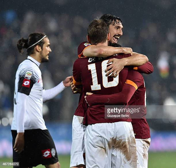 Davide Astori and Daniele De Rossi of AS Roma celebrate the victory after the Serie A match between AC Cesena and AS Roma at Dino Manuzzi Stadium on...
