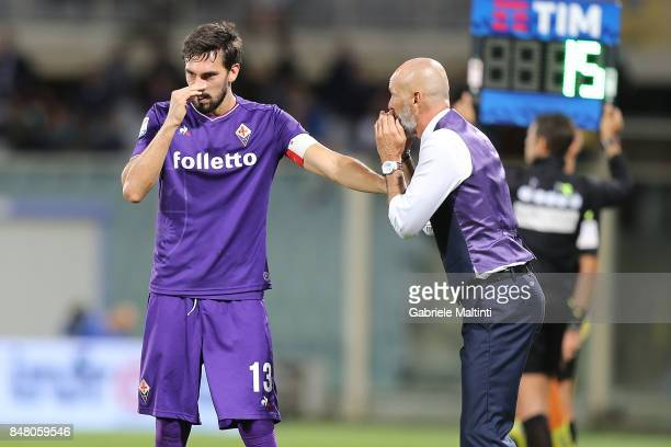 Davide Astori of ACF Fiorentina and Stefano Pioli manager of ACF Fiorentina during the Serie A match between ACF Fiorentina and Bologna FC at Stadio...
