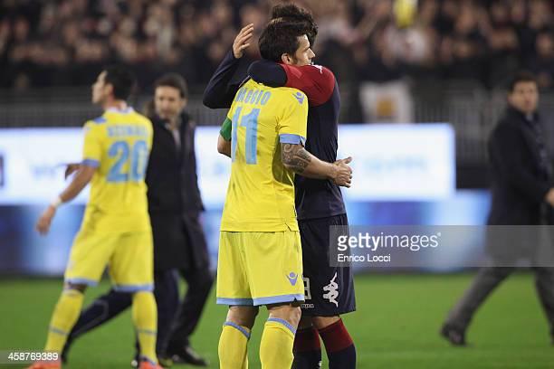 Davide Astori of Cagliari and Cristian Maggio of Napoli at the end of the Serie A match between Cagliari Calcio and SSC Napoli at Stadio Sant'Elia on...