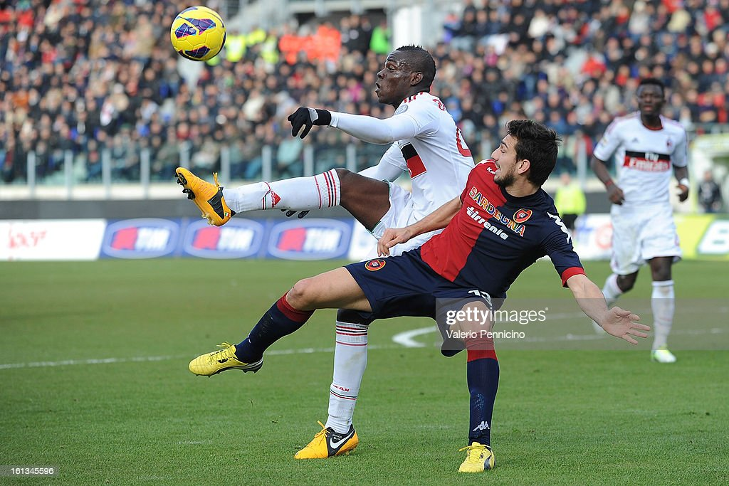 <a gi-track='captionPersonalityLinkClicked' href=/galleries/search?phrase=Davide+Astori&family=editorial&specificpeople=5658888 ng-click='$event.stopPropagation()'>Davide Astori</a> (R) of Cagliari Calcio competes with <a gi-track='captionPersonalityLinkClicked' href=/galleries/search?phrase=Mario+Balotelli&family=editorial&specificpeople=4940446 ng-click='$event.stopPropagation()'>Mario Balotelli</a> of AC Milan during the Serie A match between Cagliari Calcio and AC Milan at Stadio Is Arenas on February 10, 2013 in Cagliari, Italy.