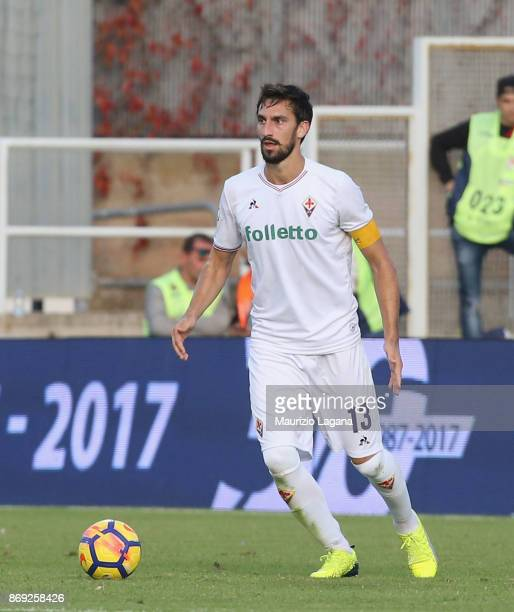 Davide Astori of Fiorentina during the Serie A match between FC Crotone and ACF Fiorentina at Stadio Comunale Ezio Scida on October 29 2017 in...