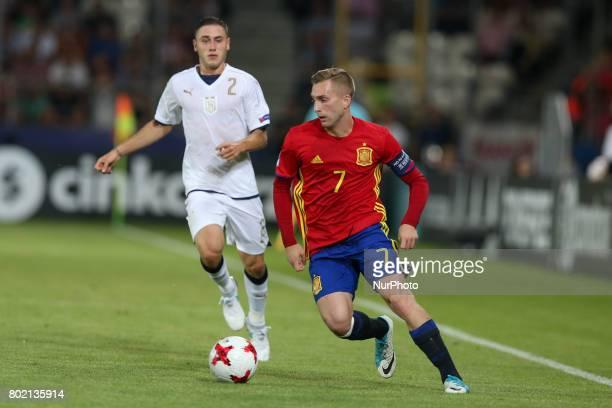 Davide Calabria Gerard Deulofeu during the UEFA European Under21 Championship Semi Final match between Spain and Italy at Krakow Stadium on June 27...