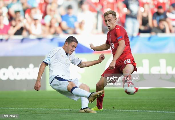 Davide Calabria of Italy and Martin Hasek of Czech Republic compete for the ball during the UEFA European Under21 Championship Group C match between...