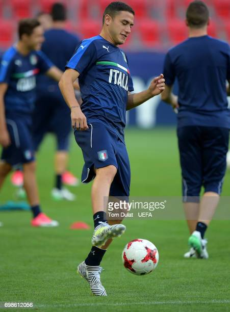 Davide Calabria of Italy during a training session at Tychy City Stadium on June 20 2017 in Tychy Poland