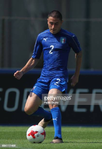 Davide Calabria of Italy in action during the Italy U21 training session at Fulvio Bernardini sport center on June 9 2017 in Rome Italy