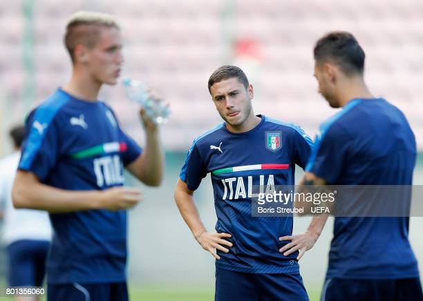 Davide Calabria of Italy looks on during the MD1 training session of the U21 national team of Italy at stadium Wisla on June 26 2017 in Krakow Poland