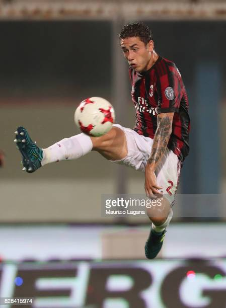 Davide Calabria of Milan during the PreSeason Friendly match between AC Milan and Villareal at Stadio Angelo Massimino on August 9 2017 in Catania...