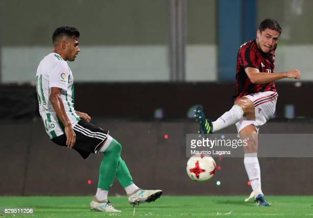 Davide Calabria of Millan during the PreSeason Friendly match between AC Milan and Villareal at Stadio Angelo Massimino on August 9 2017 in Catania...