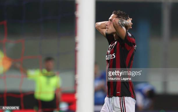 Davide Calabria shows his dejection of Millan during the PreSeason Friendly match between AC Milan and Villareal at Stadio Angelo Massimino on August...