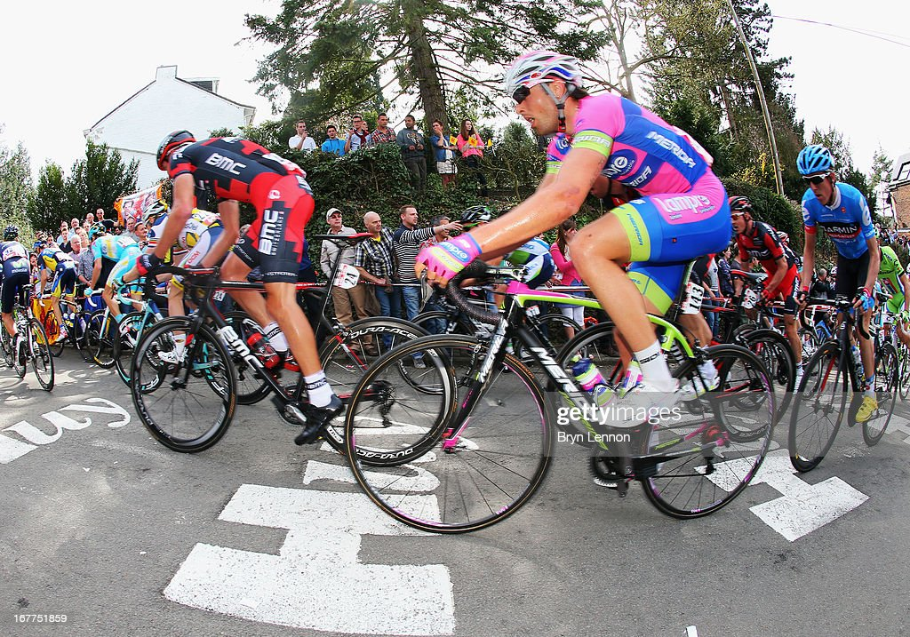 Davide Cimolai of Italy and Lampre-Merida climbs the Mur de Huy during the 77th edition of La Fleche Wallonne cycle race from Binche to Huy on April 17, 2013 in Huy, Belgium.