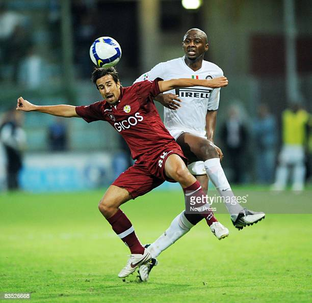Davide di Gennaro of Reggina and Patrick Vieira of Inter compte for the ball during the Serie A match between Reggina and Inter at the Stadio...
