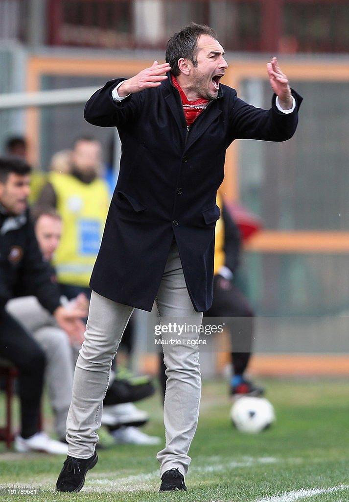 Davide Dionigi head coach of Reggina reacts during the Serie B match between Reggina Calcio and Calcio Padova on February 16, 2013 in Reggio Calabria, Italy.