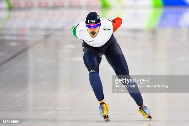 Davide Ghiotto of Italy competes in the men's 5000 meter final during day 3 of the ISU World Cup Speed Skating event on December 10 2017 in Salt Lake...