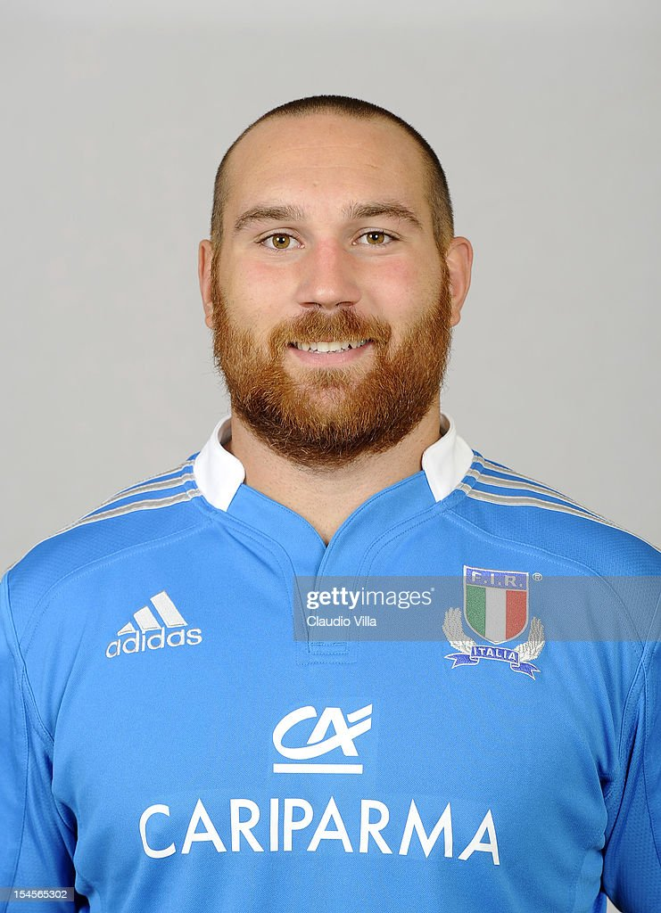 Davide Giazzon poses during a Italy Rugby Union player portrait session on October 22, 2012 in Rome, Italy.