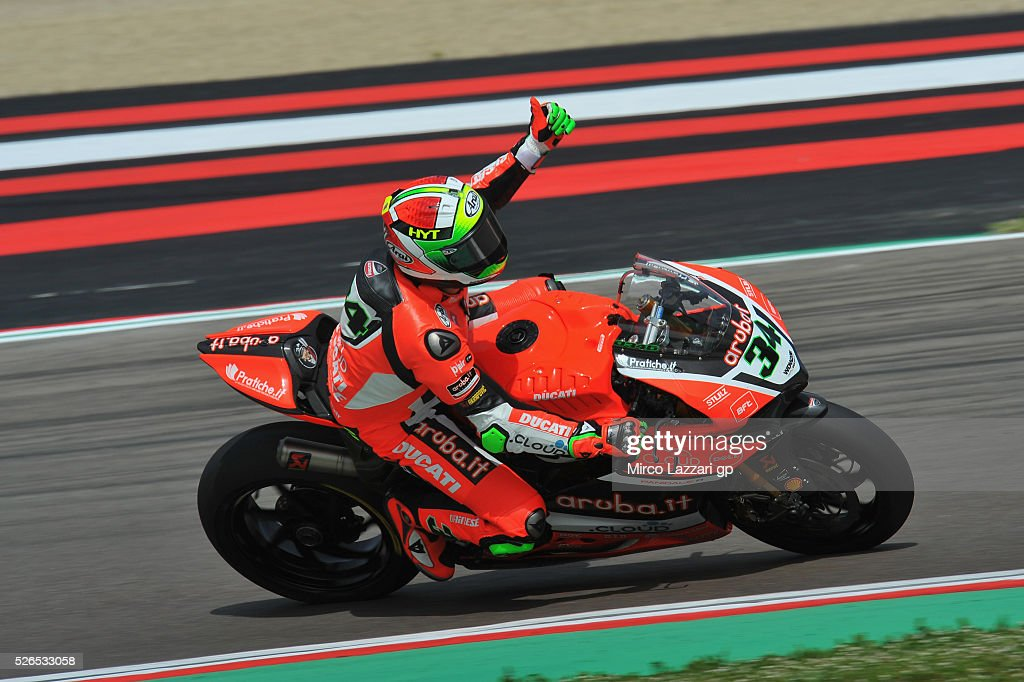 Davide Giugliano of Italy and ARUBA.IT RACING-DUCATI greets the fans at the end of the the Superbike Race 1 during the World Superbikes - Qualifying at Enzo & Dino Ferrari Circuit on April 30, 2016 in Imola, Italy.