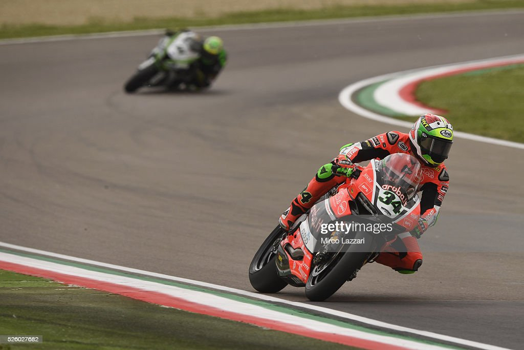 Davide Giugliano of Italy and ARUBA.IT RACING-DUCATI heads down a straight during the World Superbikes - Practice at Enzo & Dino Ferrari Circuit on April 29, 2016 in Imola, Italy.