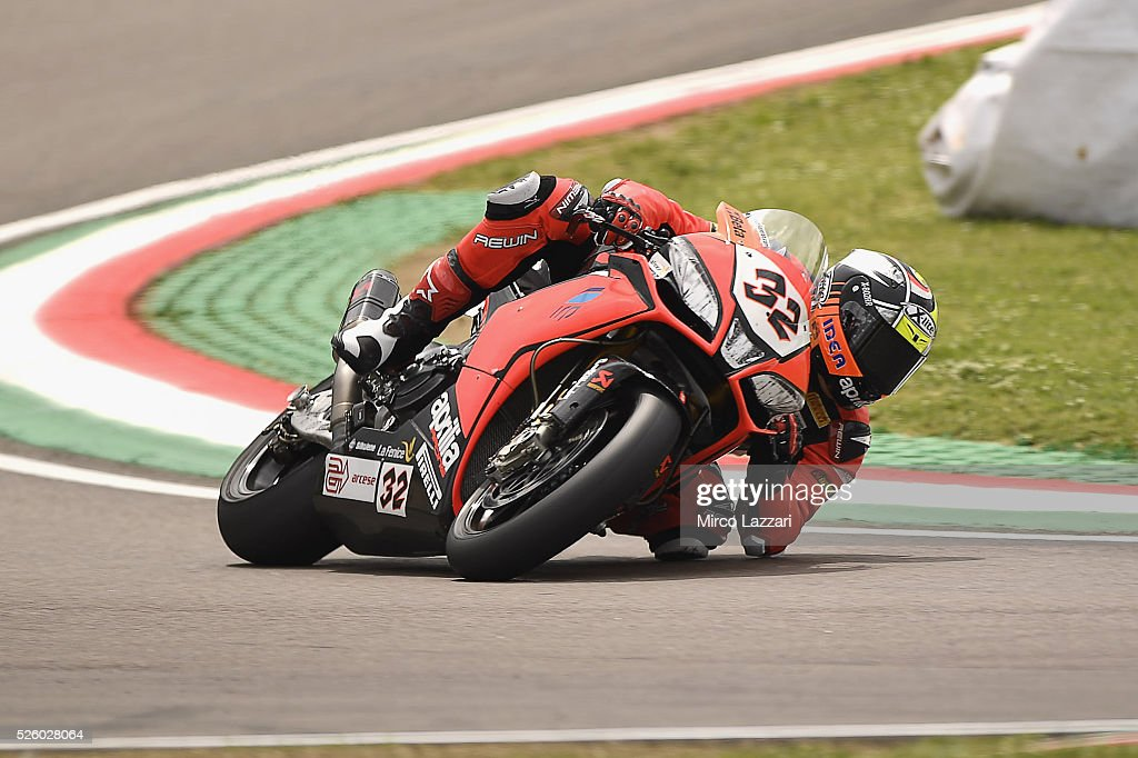 Davide Giugliano of Italy and ARUBA.IT RACING-DUCATI rounds the bend during the World Superbikes - Practice at Enzo & Dino Ferrari Circuit on April 29, 2016 in Imola, Italy.