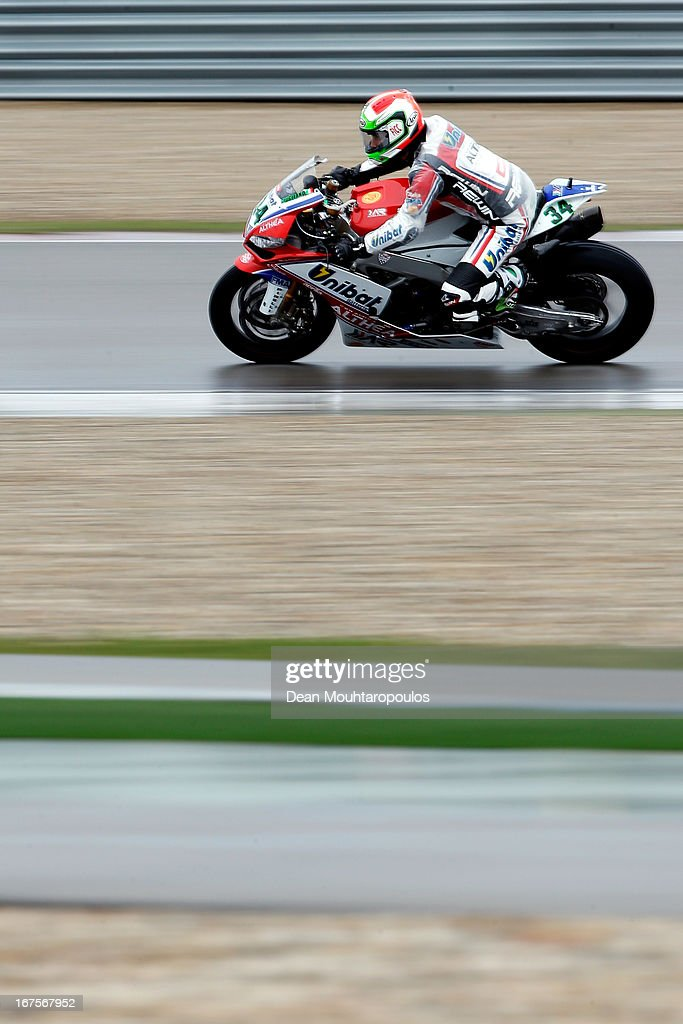 Davide Giugliano of Italy on the Aprilia RSV4 Factory for Althea Racing competes during the World Superbikes Practice Session at TT Circuit Assen on April 26, 2013 in Assen, Netherlands.