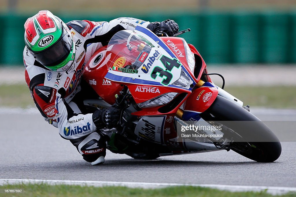 Davide Giugliano (#34) of Italy on the Aprilia RSV4 Factory for Althea Racing competes during the World Superbikes Qualifying Session at TT Circuit Assen on April 27, 2013 in Assen, Netherlands.