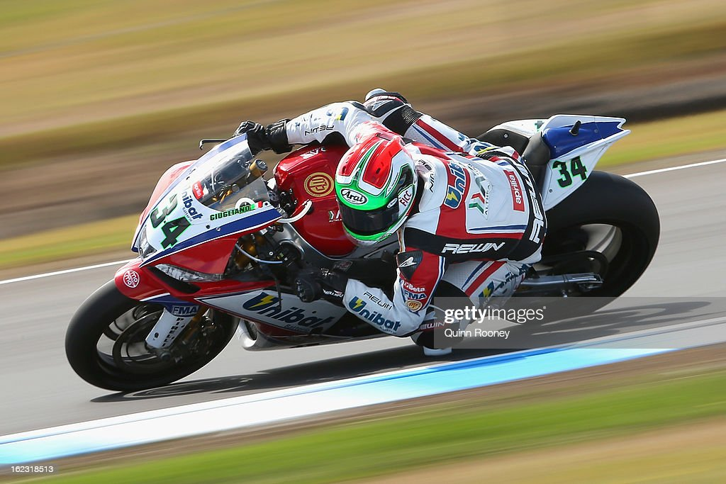 Davide Giugliano of Italy riding the #34 Althea Racing Aprilia during free practice ahead of the World Superbikes at Phillip Island Grand Prix Circuit on February 22, 2013 in Phillip Island, Australia.
