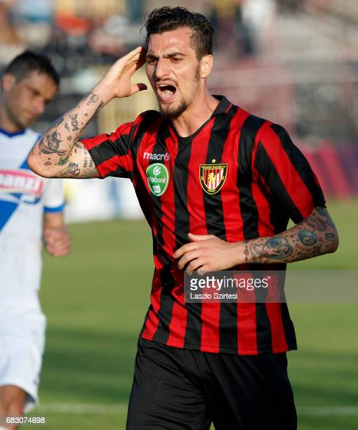 Davide Lanzafame of Budapest Honved rages against the referee's decision during the Hungarian OTP Bank Liga match between Budapest Honved and MTK...