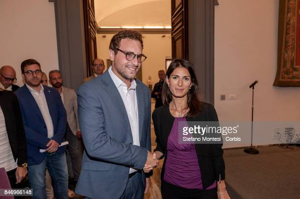 Davide Lorenzano author and director of the documentary about Judge Rosario Livatino with Virginia Raggi Mayor of Rome at the Conference on Judge...