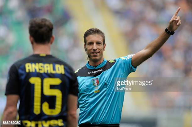 Davide Massa the referee during the Serie A match between FC Internazionale and US Sassuolo at Stadio Giuseppe Meazza on May 14 2017 in Milan Italy