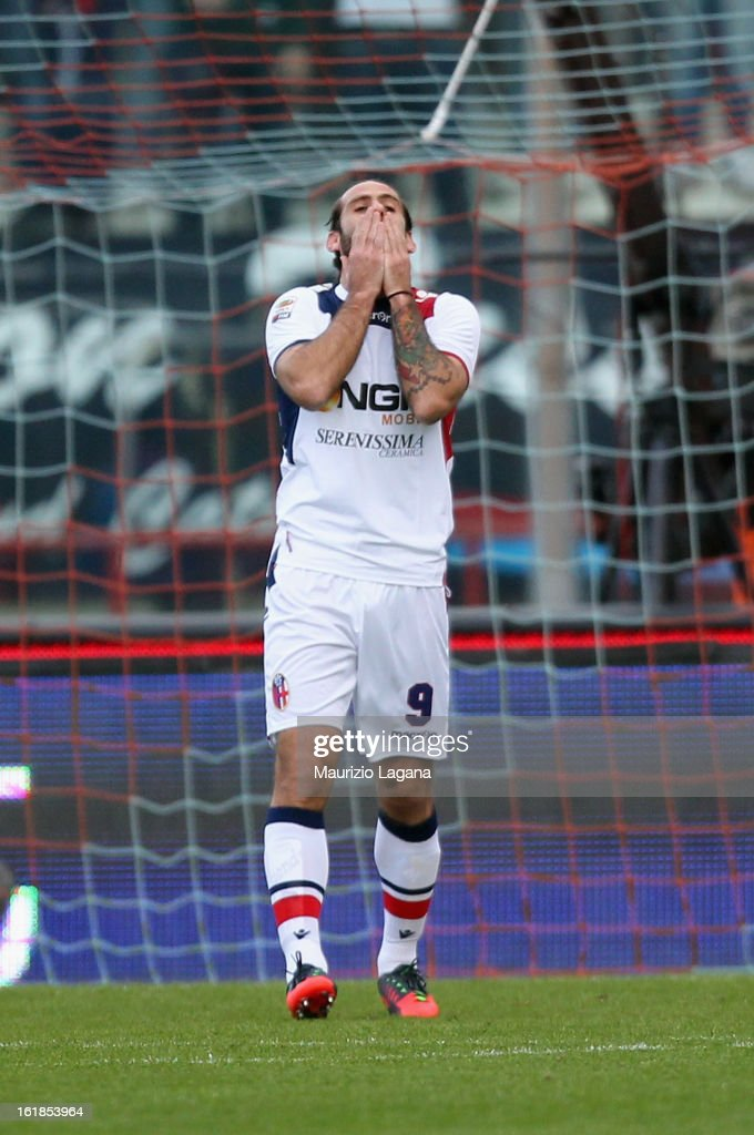 Davide Moscardelli of Bologna shows his dejection during the Serie A match between Calcio Catania and Bologna FC at Stadio Angelo Massimino on February 17, 2013 in Catania, Italy.