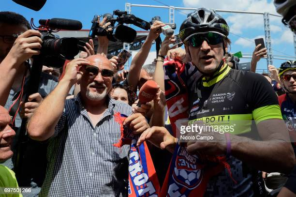 Davide Nicola arrives at the Filadelfia Stadium in Turin on a bicycle Davide Nicola is the head coach of FC Crotone he took a bicycle trip from...