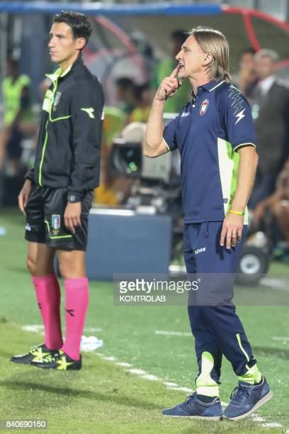 Davide Nicola coach of Crotone during the match FC Crotone v FC Hellas Verona of series A The match is over 00