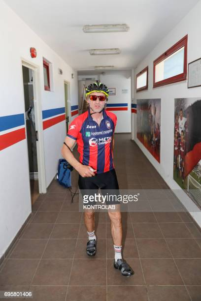 Davide Nicola coach of FC Crotone Calcio on a bicycle trip to Turin During the championship last year he had promised that if they were remained in...