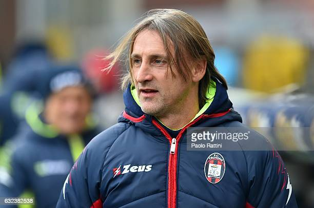 Davide Nicola head coach of Crotone looks on before the Serie A match between Genoa CFC and FC Crotone at Stadio Luigi Ferraris on January 22 2017 in...