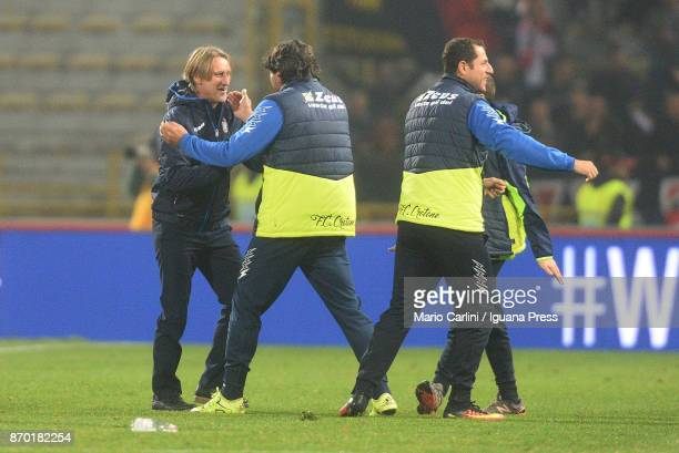 Davide Nicola head coach of FC Crotone celebrates at the end of the Serie A match between Bologna FC and FC Crotone at Stadio Renato Dall'Ara on...