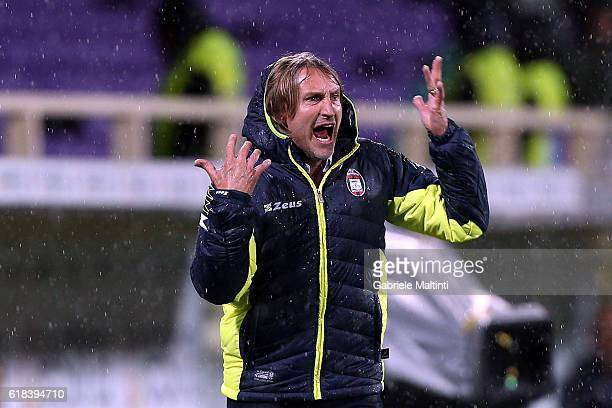 Davide Nicola manager of FC Crotone gestures during the Serie A match between ACF Fiorentina and FC Crotone at Stadio Artemio Franchi on October 26...