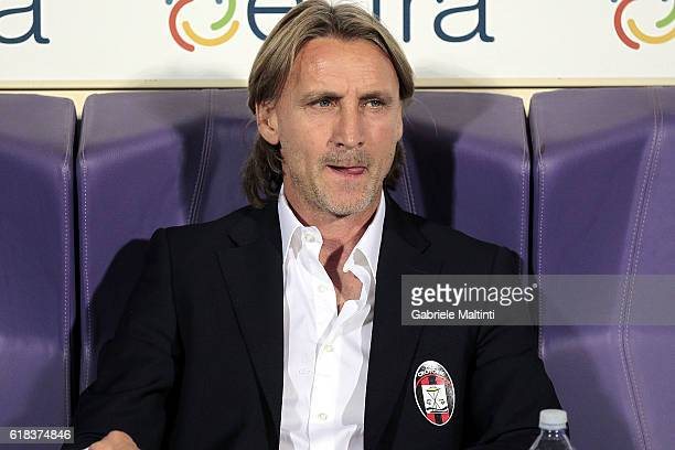 Davide Nicola manager of FC Crotone looks on during the Serie A match between ACF Fiorentina and FC Crotone at Stadio Artemio Franchi on October 26...