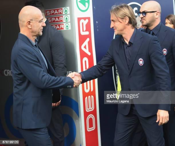 Davide Nicola of Genoa and Davide Ballardini prior the Serie A match between FC Crotone and Genoa CFC at Stadio Comunale Ezio Scida on November 19...