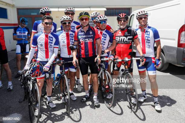 Davide Nicola with fans coach of FC Crotone Calcio on a bicycle trip to Turin During the championship last year he had promised that if they were...