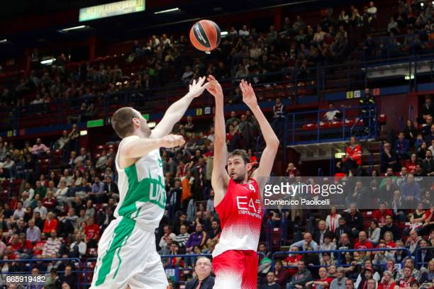 Davide Pascolo #14 of EA7 Emporio Armani Milan in action during the 2016/2017 Turkish Airlines EuroLeague Regular Season Round 30 game between EA7...