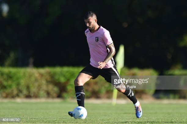 Davide Petermann of Palermo in action during a friendly match between US Citta' di Palermo and Monreale at Carmelo Onorato training center on July 30...