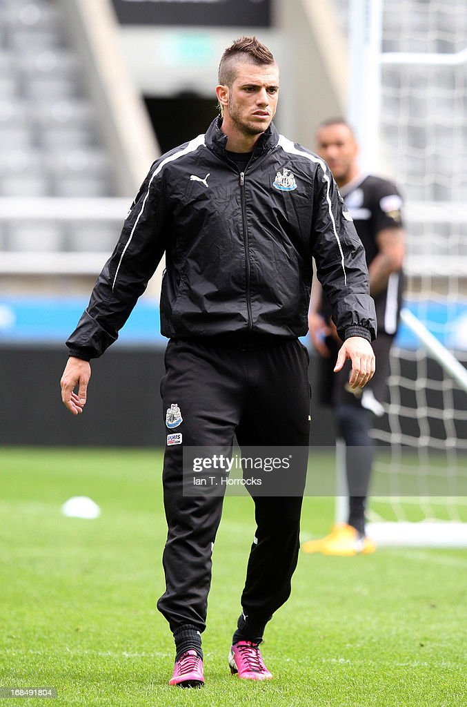 Davide Santon during a Newcastle United training session at St James' Park on May 10 in Newcastle upon Tyne England