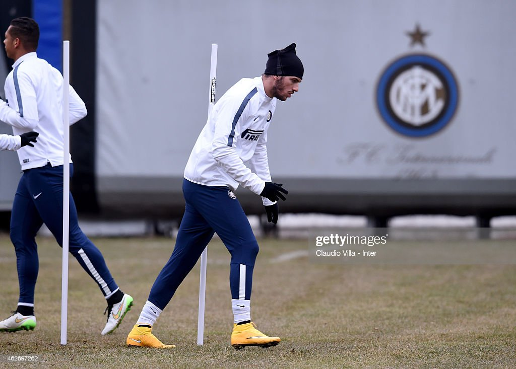 Davide Santon during FC Internazionale training session at the club's training ground at Appiano Gentile on February 03 2015 in Como Italy
