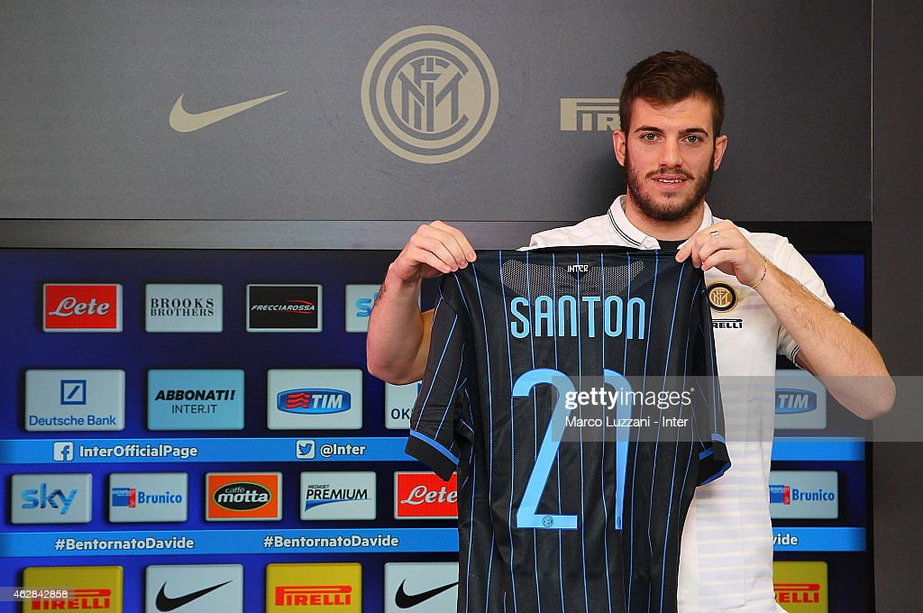 Davide Santon new signing for FC Internazionale Milano poses with the club shirt during a press conference at the club's training ground on February...