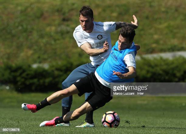 Davide Santon of FC Internazionale competes for the ball during the FC Internazionale training session at the club's training ground Suning Training...