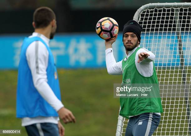 Davide Santon of FC Internazionale in action during the FC Internazionale training session at the club's training ground Suning Training Center in...