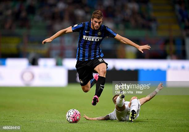 Davide Santon of FC Internazionale in action during the Serie A match between FC Internazionale Milano and Atalanta BC at Stadio Giuseppe Meazza on...
