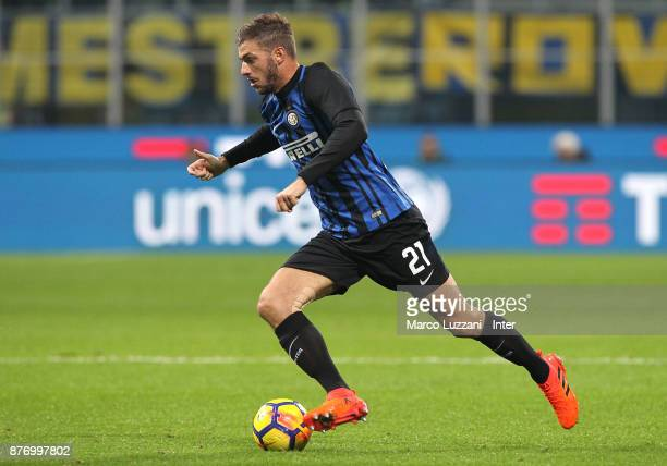 Davide Santon of FC Internazionale in action during the Serie A match between FC Internazionale and Atalanta BC at Stadio Giuseppe Meazza on November...