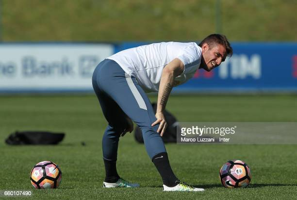 Davide Santon of FC Internazionale looks on during the FC Internazionale training session at the club's training ground Suning Training Center in...
