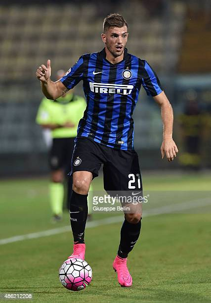 Davide Santon of FC Internazionale Milano in action during the Serie A match between Carpi FC and FC Internazionale Milano at Alberto Braglia Stadium...