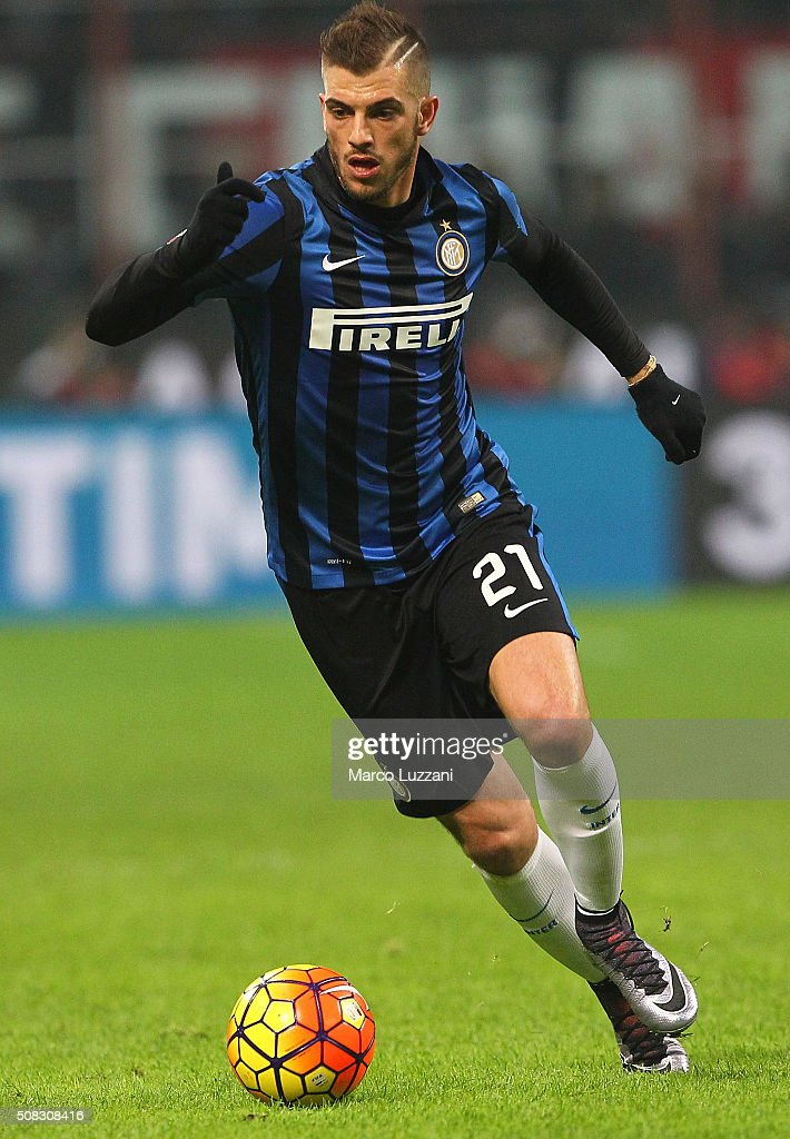 Davide Santon of FC Internazionale Milano in action during the Serie A match between AC Milan and FC Internazionale Milano at Stadio Giuseppe Meazza...